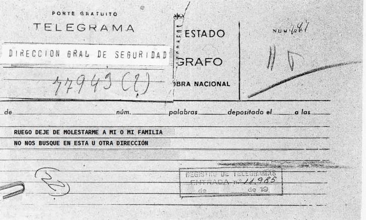 Telegrama Bernard Moret